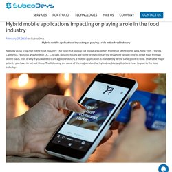 Hybrid mobile applications impacting or playing a role in the food industry