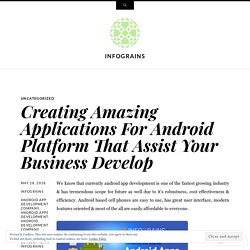 Creating Amazing Applications For Android Platform That Assist Your Business Develop