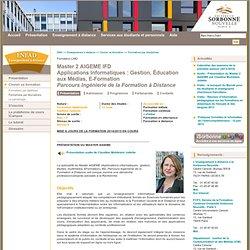 Master 2 AIGEME IFD<br/>Applications Informatiques : Gestion, Éducation aux Médias, E-Formation<br/><i>Parcours Ingénierie de la Formation à Distance</i>
