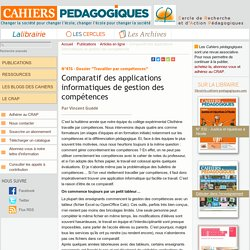 Comparatif des applications informatiques de gestion des compétences - Le Cercle de Recherche et d'Action Pédagogiques et les Cahiers pédagogiques