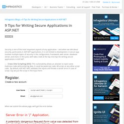 9 Tips for Writing Secure Applications in ASP.NET - User Experience Guidance - Infragistics.com Blog