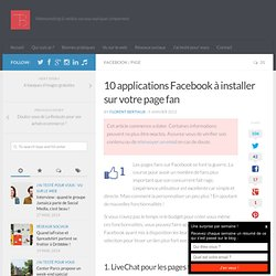 10 applications Facebook à installer sur votre page fan