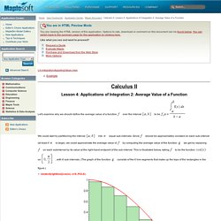 Calculus II: Lesson 4: Applications of Integration 2: Average Value of a Function - Application Center