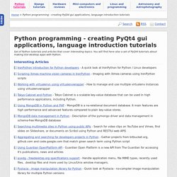 Python programming - creating PyQt4 gui applications, language introduction tutorials