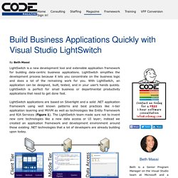 Build Business Applications Quickly with Visual Studio LightSwitch