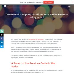 Multi-Page Applications with Native Features using Ionic 2