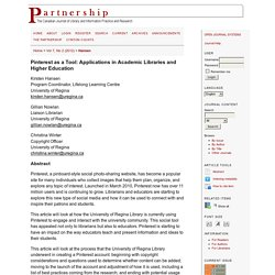 AB - Journal Article - Pinterest as a Tool: Applications in Academic Libraries and Higher Education