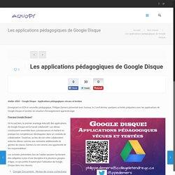 Les applications pédagogiques de Google Disque