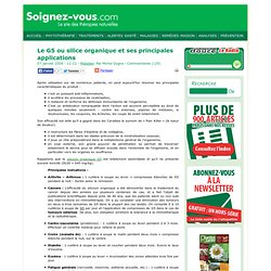 Le G5 ou silice organique et ses principales applications