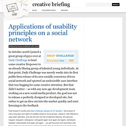 Applications of usability principles on a social network | creative briefing