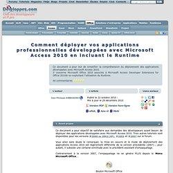 Comment déployer vos applications professionnelles développées avec Microsoft Access 2010 en incluant le Runtime