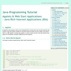 Java Applet & WebStart Rich Internet Applications - Java Programming Tutorial