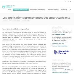 Les applications prometteuses des smart contracts – Blockchain France