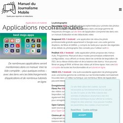 Applications recommandées - Manuel du journalisme mobile