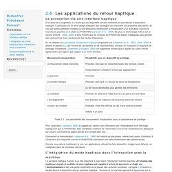 Les applications du retour haptique