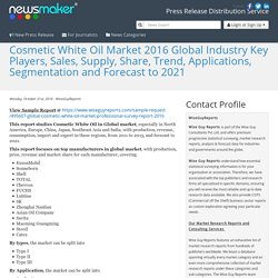 Cosmetic White Oil Market 2016 Global Industry Key Players, Sales, Supply, Share, Trend, Applications, Segmentation and Forecast to 2021
