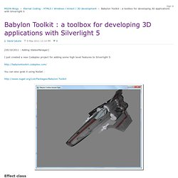 Babylon Toolkit : a toolbox for developing 3D applications with Silverlight 5 - Eternal Coding