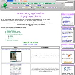 Animations, applications, logiciels, simulations de physique chimie