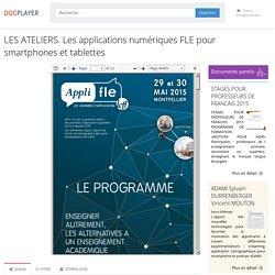 ⭐LES ATELIERS. Les applications numériques FLE pour smartphones et tablettes