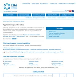 FQA : Applications pour tablettes