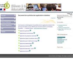 Document de synthèse des applications tablettes