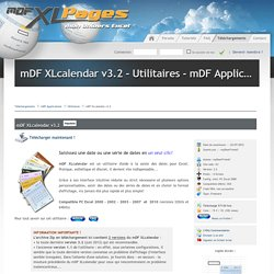 mDF XLcalendar v3.2 - Utilitaires - mDF Applications - Téléchargements : myDearFriend! Excel Pages