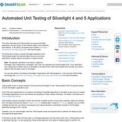 Automated Unit Testing of Silverlight 4 & 5 Applications - TestComplete