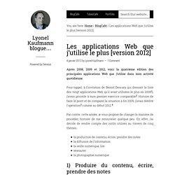 Les applications Web que j'utilise le plus [version 2012]