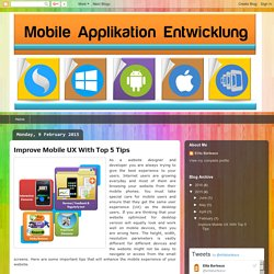 Mobile Applikation Entwicklung: Improve Mobile UX With Top 5 Tips