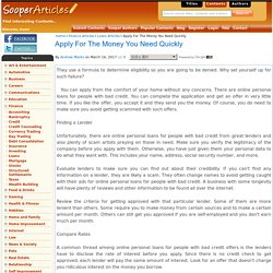Apply For The Money You Need Quickly