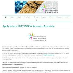 Apply to be a 2019 INGSA Research Associate – INGSA