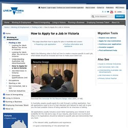 How to Apply For Jobs in Victoria, Australia - Live in Victoria