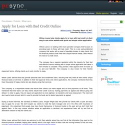 Apply for Loan with Bad Credit Online