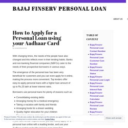 How to Apply for a Personal Loan using your Aadhaar Card – Bajaj Finserv Personal Loan