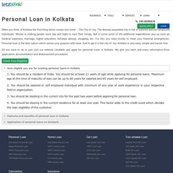 Apply for Personal Loan in Kolkata @ lowest ROI