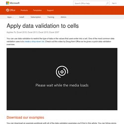 Apply data validation to cells - Excel