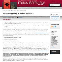 Signals: Applying Academic Analytics