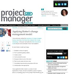 Applying Kotter's change management model