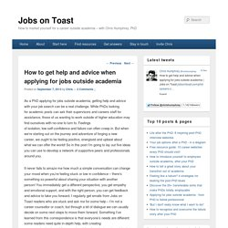 How to get help and advice when applying for jobs outside academia