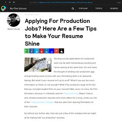 Applying For Production Jobs? Here Are a Few Tips to Make Your Resume Shine