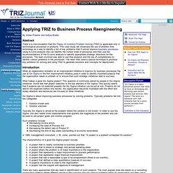 Applying TRIZ to Business Process Reengineering