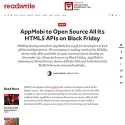 AppMobi to Open Source All Its HTML5 APIs on Black Friday