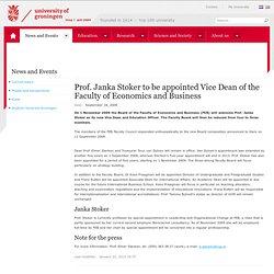 Prof. dr. Janka Stoker wordt vice-decaan Economie en Bedrijfskunde