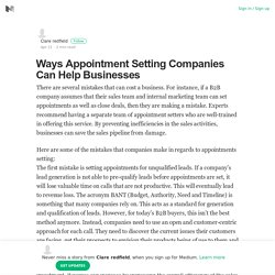 Ways Appointment Setting Companies Can Help Businesses