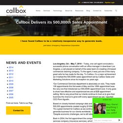 Callbox Delivers its 500,000th Sales Appointment - Callboxinc.com - B2B Lead Generation Company