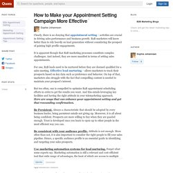 How to Make your Appointment Setting Campaign M... - B2B Marketing Blogs - Quora