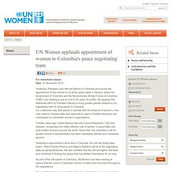 UN Women applauds appointment of women to Colombia's peace negotiating team