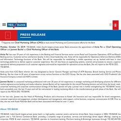 YES BANK announces appointment of Key leaders to augment Operational Excellence and Brand Building for the Bank - Press Release