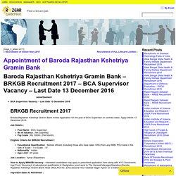 Appointment of Baroda Rajasthan Kshetriya Gramin Bank- Rozgar darpan