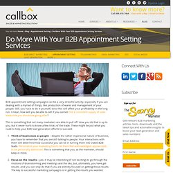 Do More With Your B2B Appointment Setting Services